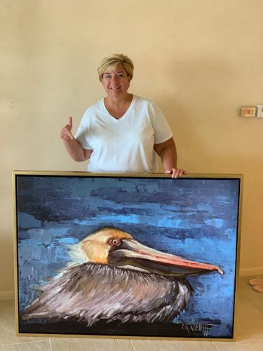 A Really Big Giclee A Happy Customer, Daily Painting, Small Oil Painting, Pelican Print