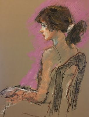 Sketch of the Seated Model - original oil pastel and charcoal figurative
