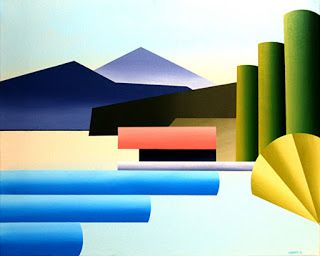 Mark Webster - Mountain Lake Dock Abstract Acrylic Painting