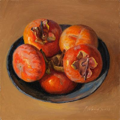 Persimmons in a bowl, still life oil painting original daily painting a painting a day fruit
