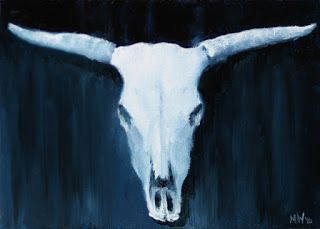 Mark Webster - Midnight Oil Series - Blue Cow Skull Oil Painting