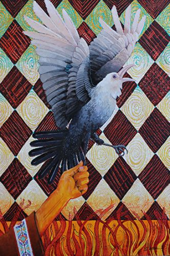 "Native American Legend Raven Art Painting ""Why Raven is Black"" by Painter of the American West Nancee Jean Busse"