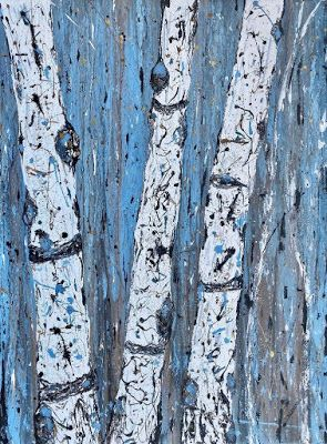 "Aspen Tree Painting, Aspen Trunks, Abstract Landscape ""Aspen Trunks on a Winter's Day"" by Colorado Contemporary Landscape Artist Kimberly Conrad"