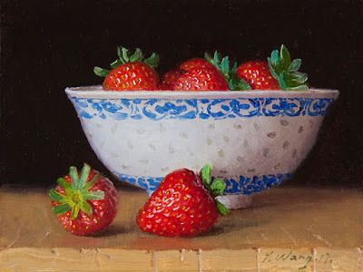 Strawberries in a Chinese bowl still life fruit 5x7 inch