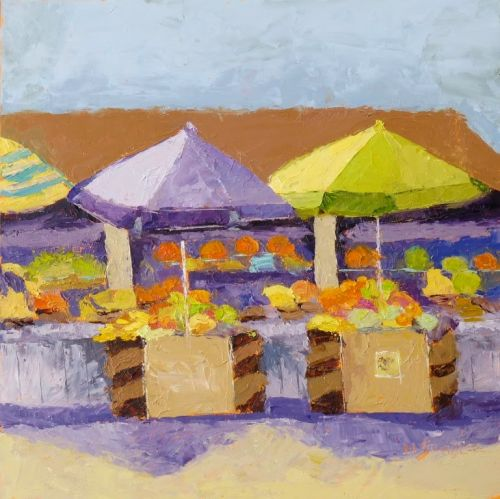 Ventura Fruit Stand, Palette Knife Painting and Liz Steel Sketching Now Class by Texas Artist Nancy Standlee