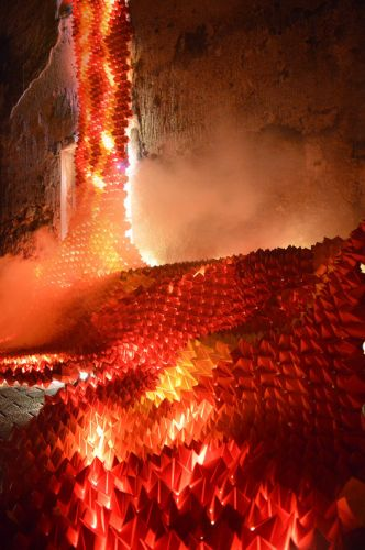 Ephemeral 'Origami Lava' Installation at Catalonia's Lluèrnia Festival of Light and Fire