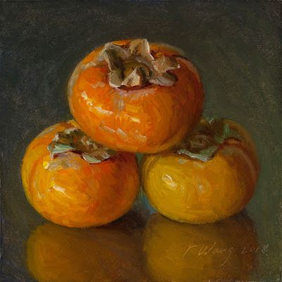 Persimmons still life oil painting a day