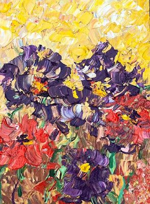 """Impressionist Floral Landscape Painting, Palette Knife Painting """"Summer Flowers"""" by Colorado Impressionist Judith Babcock"""
