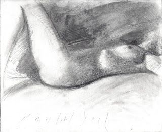 Reclining female nude drawing