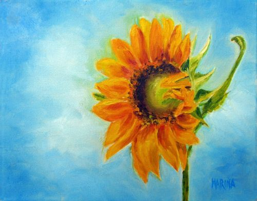 SUNFLOWER, Original Oil Painting by Marina Petro