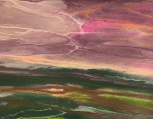 """Contemporary Landscape,Sunrise Painting,Abstract Landscape Painting """"WHISPERED REFLECTIONS"""" by International Contemporary Artist Kimberly Conrad"""