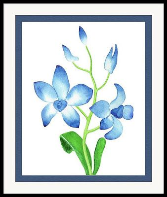Blue Orchid Flower Watercolor Painting For Home Decor