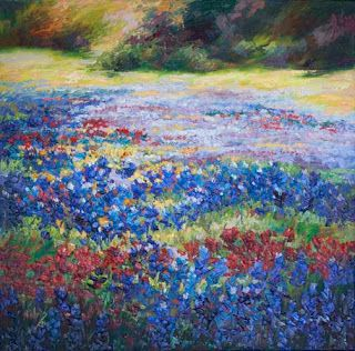 """Visions of Wildflowers II"" Palette Knife Bluebonnet Oil Painting by Niki Gulley"