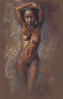 Female nude standing in vase pose