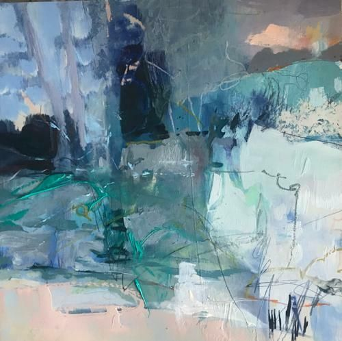 "Contemporary Mixed Media Painting ""Winter's Dawn"" by Intuitive Artist Joan Fullerton"