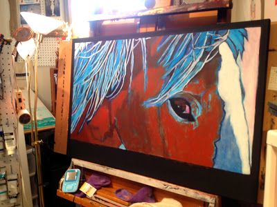 More progress pics of Annie~Portrait of a Wild Mustang