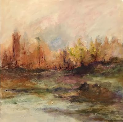 """Fall Landscape, Contemporary Landscape Painting, Autumn, """"Just Close Your Eyes"""" by Portland Contemporary Artist Liz Thoresen"""