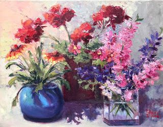 Spring Models, New Contemporary Floral Painting by Sheri Jones