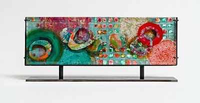 "Mixed Media Horizontal Free Standing Sculpture, Abstract Art ""New Worlds"" by Santa Fe Contemporary Artist Sandra Duran Wilson"