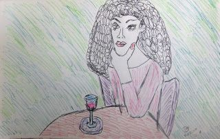 Lady At The Cafe - Colored Pens
