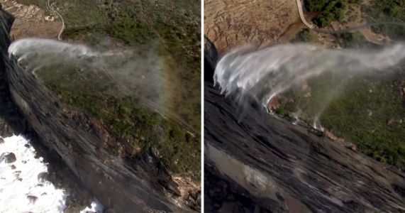 Watch: Strong Winds Create 'Reverse Waterfalls' in Australia
