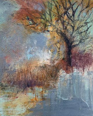 "Contemporary Landscape Painting, Tree, Lake, Fine Art For Sale, ""ANTICIPATING CHANGE"" by Contemporary Artist Liz Thoresen"
