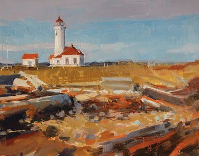 """""""Point Wilson Lighthouse"""" oil landscape painting by Robin Weiss"""