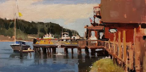 """""""The Lime Dock"""" LaConnor plein air painting by Robin Weiss"""
