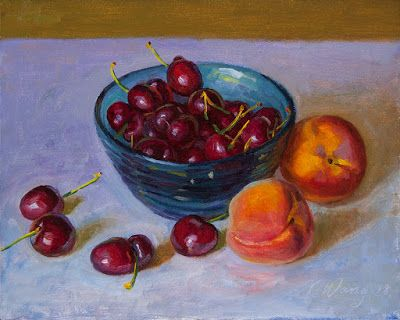 Cherries and peaches still life fruit painting original