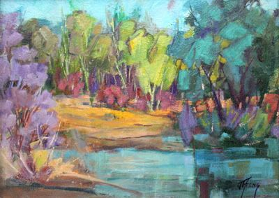 "Impressionist Landscape,Trees, Fine Art Oil Painting ""Connected Lakes"" by Colorado Contemporary Fine Artist Jody Ahrens"