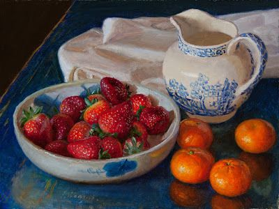Strawberries tangerine still life oil painting original contemporary realism