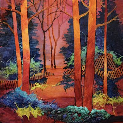 "Contemporary Colorful Landscape Fine Art Print ""Rosy Glow"" by Carol Nelson Fine Art"