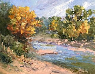 Contemporary Impressionistic Autumn Landscape Palette Knife Plein Air Oil Painting by Sheri Jones