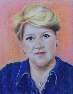 Clare Balding's portrait in pastel by Kim Blair