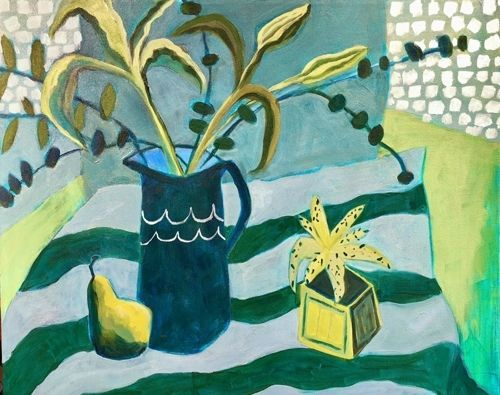 """Contemporary Abstract Still Life Flower Art Painting """"LILIES GREEN & BLUE"""" by Santa Fe Artist Annie O'Brien Gonzales"""