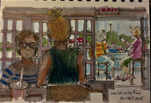 "Day 237 ""Lunch at Lucky's"" 6 x 9 ink, pencils & marker"