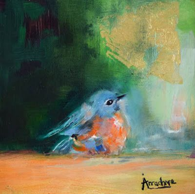 "Bird Painting, Contemporary Art ""Wild Citizen IV"" by International Contemporary Abstract Artist Arrachme"
