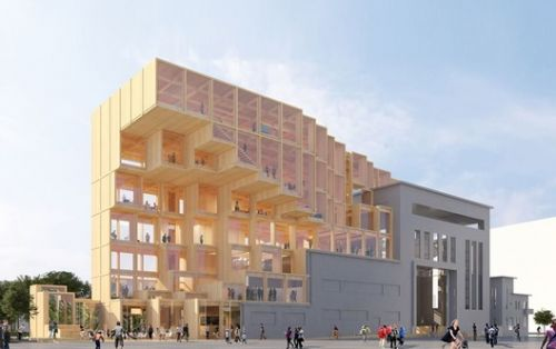 Jakob + MacFarlane Design Retractable Timber Exhibition Hall for Paris