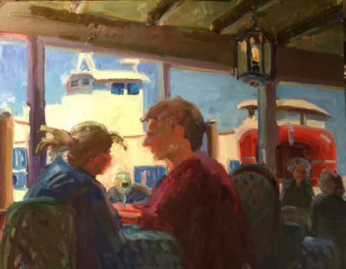 """Lunch Date"" oil 12 x 16 - spring date along the water"