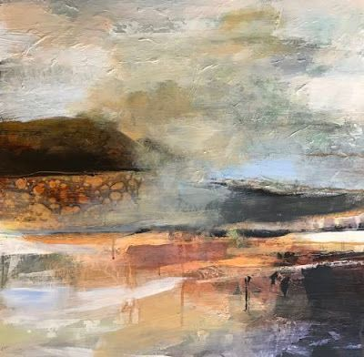 """Contemporary Abstract Landscape Art Painting """"Layers of Silence"""" by Intuitive Artist Joan Fullerton"""