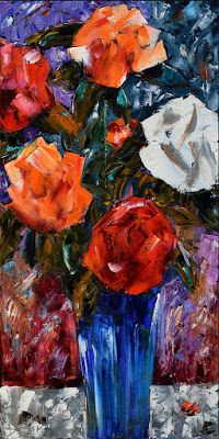 "Roses Painting Floral Art Flowers Paintings Still Life ""Blue Vase"" by Debra Hurd"
