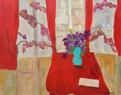 "Contemporary Expressionist Still Life Fine Art Painting,Interior View, Red Chair, ""RED CURTAINS"" by Oklahoma Artist Nancy Junkin"