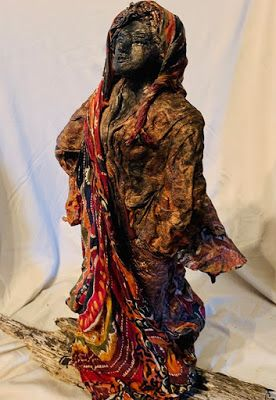 "Sculpture, Figurative Sculpture, Contemporary Art, ""WOMAN ON A MISSION"" by Florida Contemporary Artist Mary Ann Ziegler"