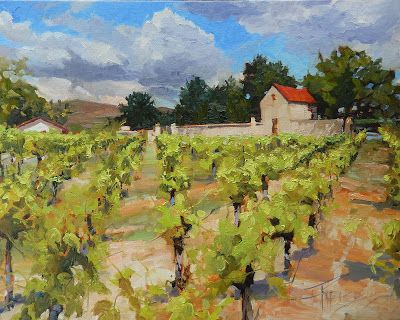 """Hedges Family Estate"" original, vineyard, oil painting by Robin Weiss"