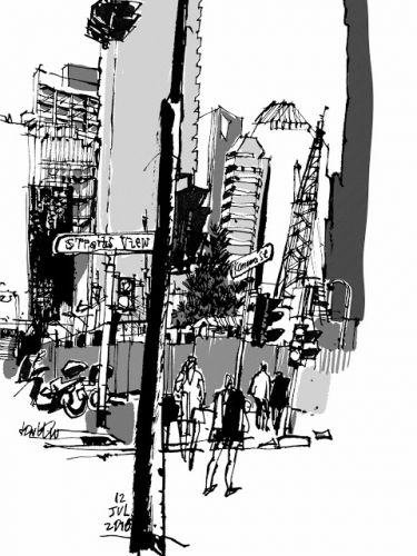 Sketching at the Central Business District with a dip pen