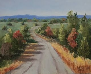 Pear Orchard Road, New Contemporary Landscape Painting by Sheri Jones