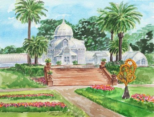 Conservatory Of Flowers Watercolor Painting San Francisco Plein Air