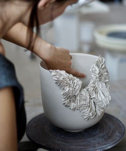 Coral-Inspired Vessels Formed From Thousands of Individually-Applied Porcelain Fragments by Olivia Walker