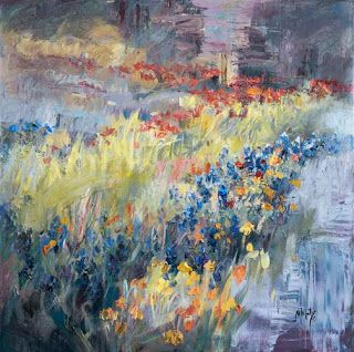 """""""Symphony in Springtime II"""" Textured Abstract Bluebonnet Painting by Niki Gulley"""