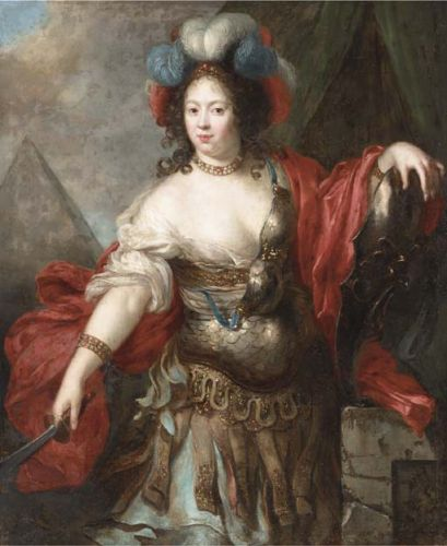 17C Gentlewomen as the Goddess Minerva of War, the Arts, & Wisdom
